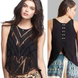 Free People Geometric Sheer Cutout Tank